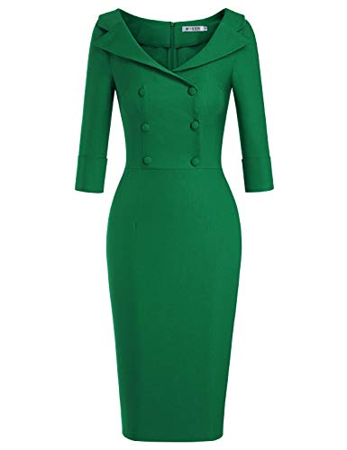 MUXXN Womens Illusion Pure Green 50s 60s Button Sheath Cocktail Bridesmaid Dress with Sleeve (Green M)