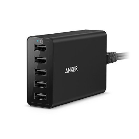 Anker 40W/8A 5-Port USB Charger PowerPort 5, Multi-Port USB Charger for iPhone 6/6 Plus, iPad Air 2/Mini 3, Samsung Galaxy S7/S6/S6 Edge and More