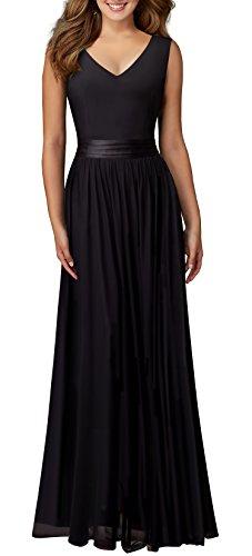 V Neck Long Evening Dress (Black) - 3