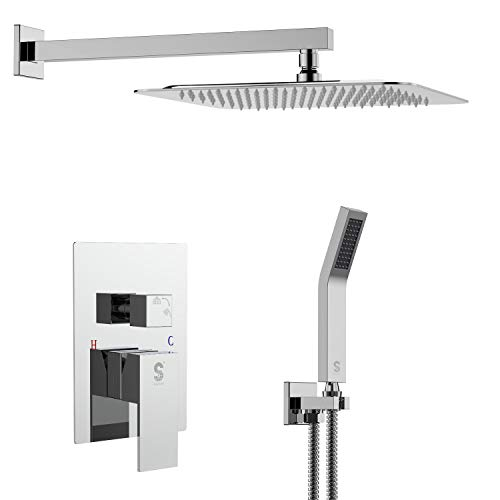 SR SUN RISE SRSH-F5043 10 Inch Bathroom Luxury Rain Mixer Shower Combo Set Wall Mounted Rainfall Shower Head System Polished Chrome Shower Faucet Rough-in Valve Body and Trim Included