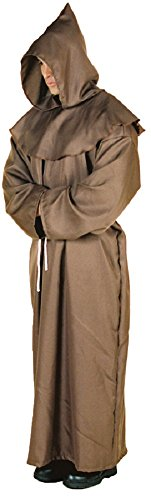 [Underwraps Men's Monk Robe, Brown, One Size] (Brown Monk Robe Costume)