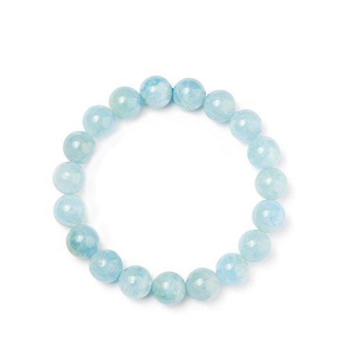SUNNYCLUE Natural Gemstones Ocean Blue Aquamarine Bracelet Stretch 10mm Round Beads about 7