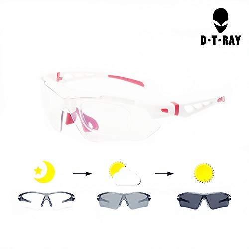 DTRAY Sports Photochromic Sunglasses for Cycling Running Golf Ski Wraparound Windproof Sunglasses