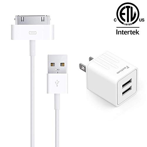 Pantom, 30-Pin Cable and 2.4A Dual USB Port Wall Charger Compatible with iPhone 3, 3GS, 4, 4S, iPad 1, 2, 3, iPod Touch 2, 3, 4, iPod Nano 4, 5, 6, iPod Classic