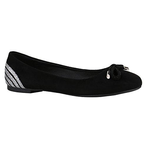 Stiefelparadies Klassische Damen Ballerinas Slippers Flats Übergrößen Flache Schuhe Metallic Spitze Glitzer Abendschuhe Flandell Schwarz Silber