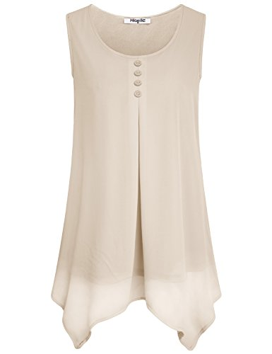 Hibelle Chiffon Blouse, Loose Tank Tops for Women Business Casual Designer Shirts Sleeveless Dressy Pleated Trapeze Tunic Tiered Layered Asymmetric Office Work Clothing Beige XLarge