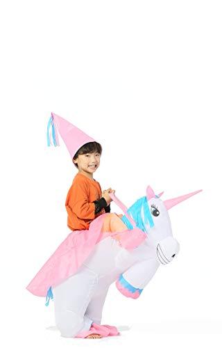 GOPRIME Sale Now !! Unicorn Costume Horn Horse Inflatable Suit (Unicorn Riding White Kid)]()