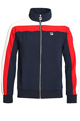 (Fila Vintage Parker Vintage Style Track Jacket | Peacoat/White/Red Small Pecored)