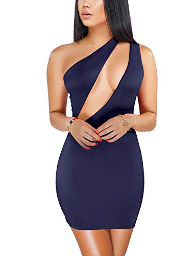Sprifloral Womens Sexy Stretch Bodycon Dress One Shoulder Sleeveless Cutout Bandage Mini Party Dress Dark Blue ()