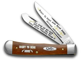 CASE XX Chestnut Bone Right to Bear Arms 1/600 Trapper Pocket Knife Knives