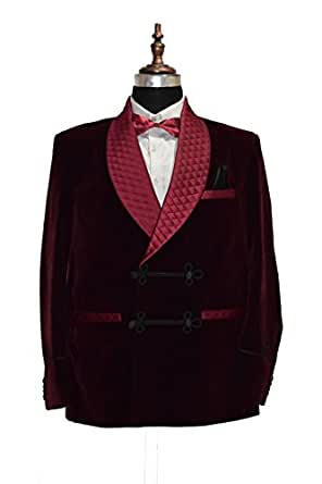 Zainabexports Men's Quilted Smoking Jacket Double Breasted Burgundy Velvet Coat Regular Fit (2XL)