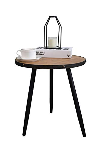 Aojezor Wood Side Table Small,Sofa Bedside Table,Nightstand for Bedroom,Round Metal & Wood,Rustic Home Furniture for Small Space,Under 100,Industrial/Accent Brown/Black