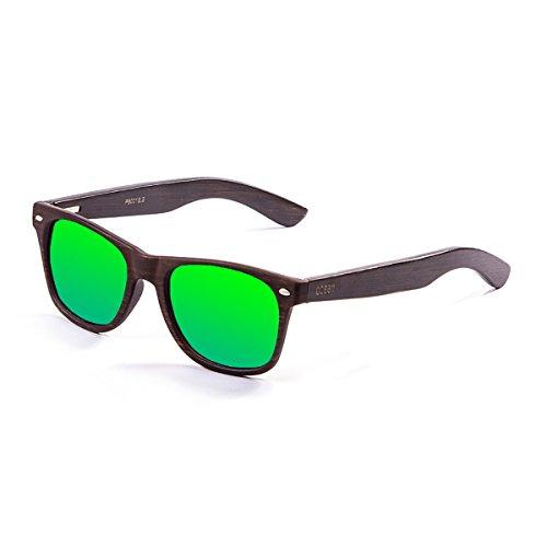Ocean Sunglasses Beach Lunettes de Soleil Mixte Adulte, Bamboo Brown Frame/Wood Dark Arms/Revo Green Lens