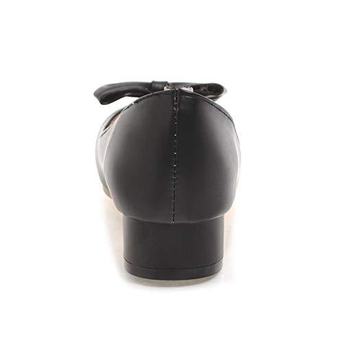 Shoes Bows Urethane Solid BalaMasa APL10395 Womens Travel Pumps Black qHxUnFYnRE