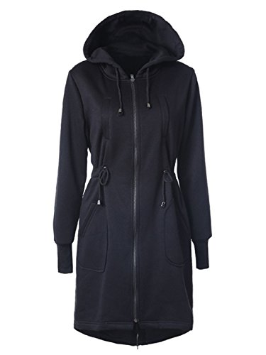Choies Women Black Zip Up Fleece Mid-Long Drawstring Safari Anorak Hooded Jacket (Drawstring Hooded Long Jacket)