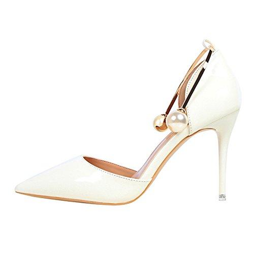 YMFIE Pearl Laca Zapatos de tacón señoras Elegante y de Moda en Verano. white