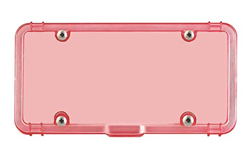 Luxe Shield Pink License Plate Cover with Drain - Made in USA - Premium Quality 100% Recycled Industrial-Strength Polycarbonate License Plate Protector incl 4 Stainless Screws (One License Cover)