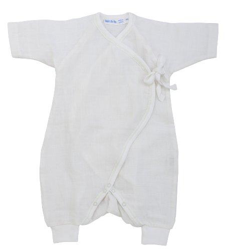 Under The Nile Cotton Romper (UNDER THE NILE APPAREL Unisex-baby Newborn Side Tie Kimono, White, 3-6)