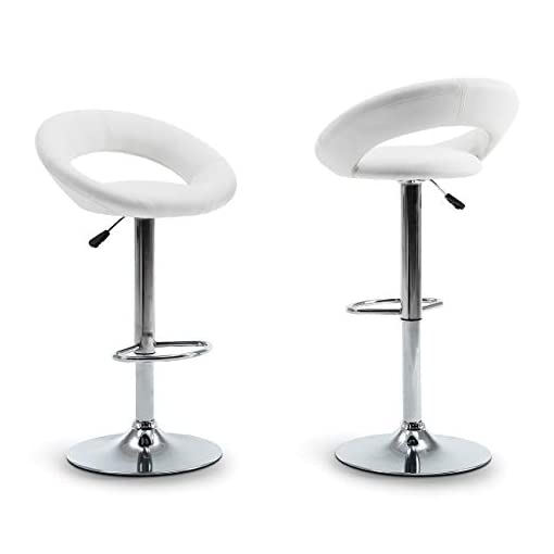 Kitchen BELLEZE Set of 2 Bar Stool Pub Modern Faux Leather Adjustable Swivel Function Height Hydraulic Lift w/Footrest, White modern barstools