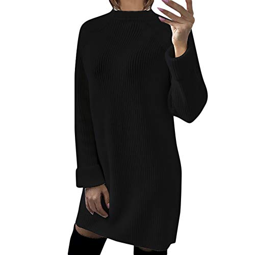 Hooded Dress,Kulywon  Womens Casual Long Sleeve Jumper O Neck Sweaters Dress(XL/US 10,Black)