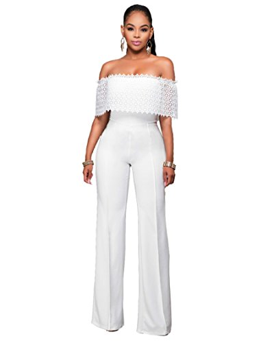 Women Sexy Off Shoulder Strapless Solid Long Pants Jumpsuit Romper Large White (Cheap Sexy School Girl Outfits)