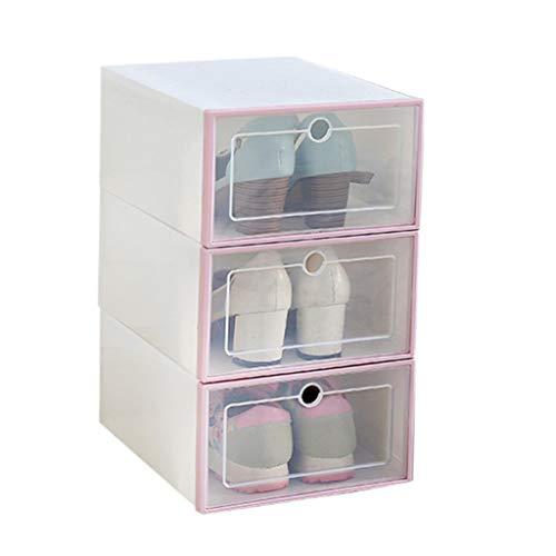 Ktyssp 3PCS Foldable Shoe Storage Boxes Shoe Organizer Transparent Plastic Shoe Storage (Pink)