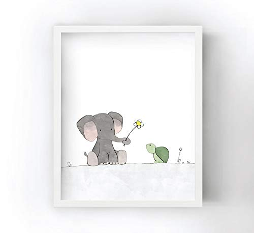 - Elephant and Turtle Nursery Print - Sharing a Flower