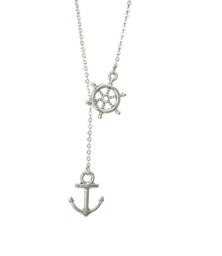 Freena Design Nautical Navy Lariat Necklace Wheel and Anchor Y (Nautical Pendant Slide)