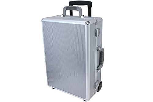 T.Z. Case Aluminum Padded 19.5'' Carry On, Rolling Hard-Sided Suitcase in Silver