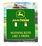 John Deere Green Double Light Switch Plate Cover