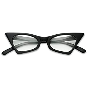1950's Retro Vintage High Pointed Colorful Clear Lens Geometric Cat Eye Glasses Non-Prescription (Black, Clear)