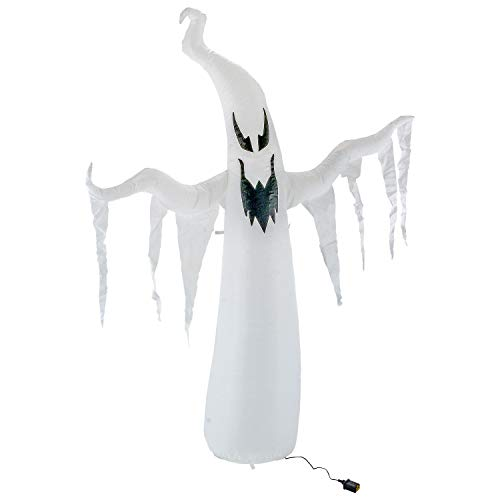 Halloween Haunters 7 Foot Inflatable Spooky White Ghost with LED Lights Indoor Outdoor Yard Lawn Prop Decoration - Blow Up Haunted House Party Display - Boo