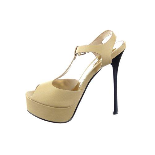 Sopily - damen Mode Schuhe Pumpe Dekollete T-Spange Modern - Beige