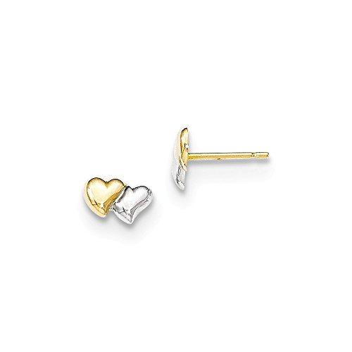 14K Two-Tone Gold Double Puffed Hearts Stud Post Earrings