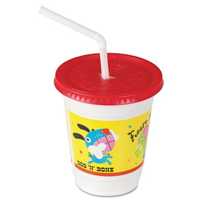Solo Plastic Kids' Cups with Lids/Straws in Critter Print