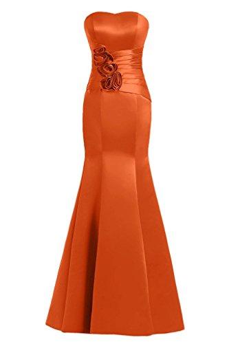 sunvary Mermaid Sweetheart satén de flores vestidos de fiesta Prom Fiesta naranja