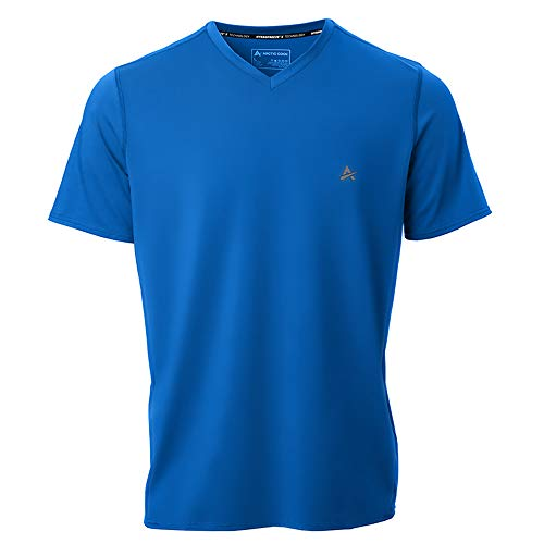 Arctic Cool Men's V-Neck Instant Cooling Short Sleeve Shirt Performance Tech Breathable UPF 50+ Sun Protection Moisture Wicking Comfortable Athletic Quick Drying T-Shirt, Polar Blue, XL (Best Mens Cooling Shirt)