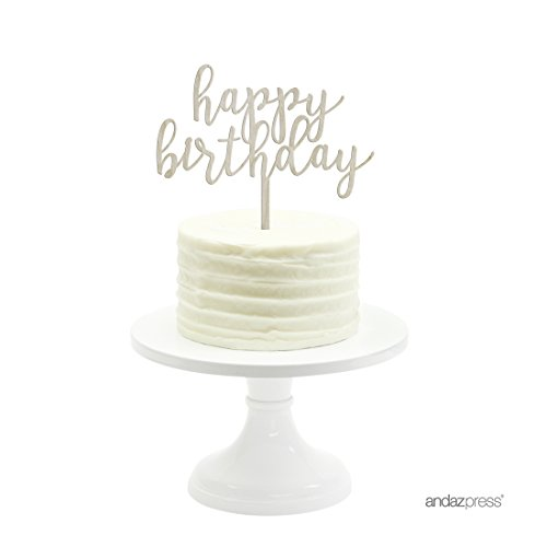 Andaz Press Birthday Wood Cake Toppers, Happy Birthday, 1-Pack, Decor Decorations by Andaz Press (Image #1)