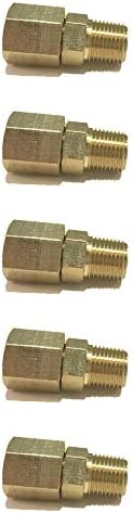 SIDE INDUSTRIAL Brass Male Swivel Adapter 1/8″ NPT Fuel / AIR/ Water / Oil/ Gas WOG (Qty 05)