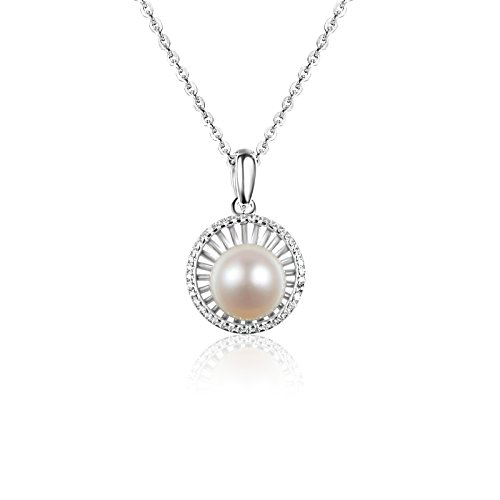 Carleen Sterling Silver White Single Freshwater Pearl Pendant Necklace for ()