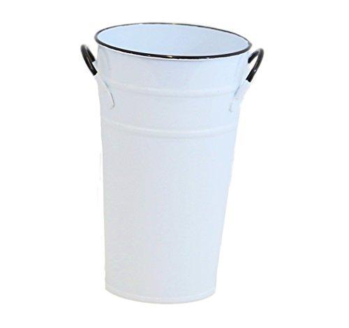 White Enamel Round French Bucket - 18in.