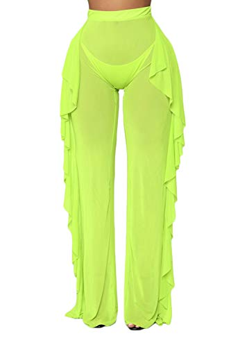 wsevypo Women Sexy See Through Sheer Mesh Ruffle Pants Perspective Swimsuit Bikini Bottom Cover up Party Clubwear Pants Green