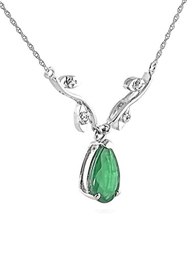 (1.02 ct 14k White Gold Drop Necklace with Genuine Diamonds & Pear-Shaped Natural Emerald 4273W)