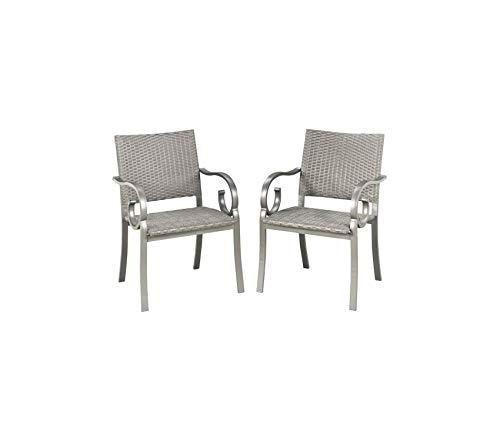 (Hоmе Stylеs Patio Outdoor Garden Premium Capri Outdoor Patio Pair of Arm Chairs, Gray)