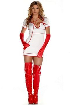 [Forplay Doctor Love Dress, Stethoscope, Gloves, White, Large/X-Large] (Doctor Love Costume)