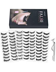 Lurrose 60 Pairs 6 Styles Fake Eyelashes Set Handmade Long Soft False Eyelashes Pack for Natural Look, 10 Pairs Eyes Lashes Each Style, Eyelash Tweezers Included (Best Fake Lashes For Small Eyes)