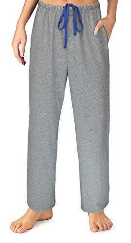 EVERDREAM Sleepwear Womens Jersey Knit Pajama Pants, Long Pj Bottoms,Size Large Grey