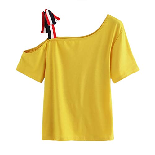 VLDO Sport for Women Bandage Solid Short Sleeve Tops O-Neck Casual T-Shirt Blouse Yellow ()