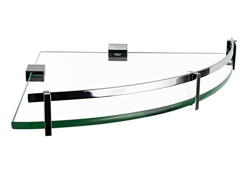 Mount-It! Glass Corner Shelf For Shower and Bathroom, Wall Mounted With Chrome Rail & 8mm Tempered Glass, 9.75 Inch