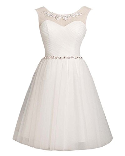 Cheap Masquerade Dresses (MorySong Women's Scoop Appliques Tulle Cocktail Dress Homecoming Dress Short L White)